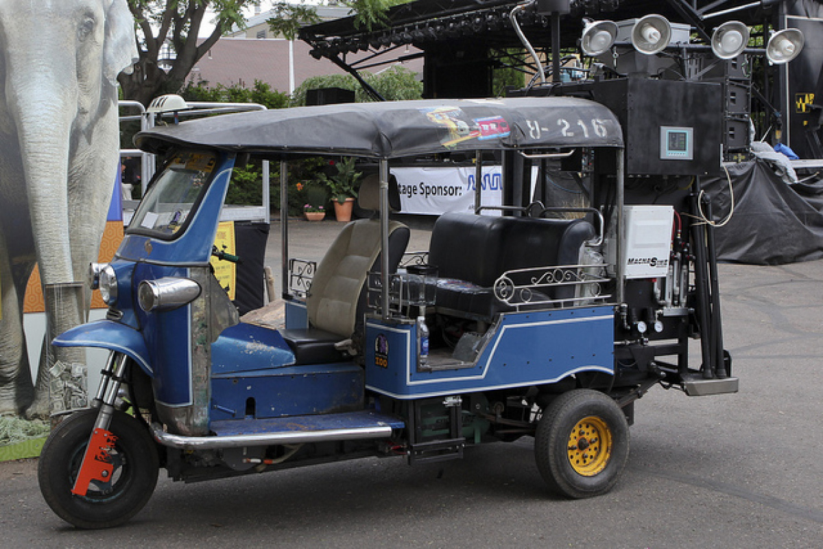 """Denver Zoo will haul its working prototype of a """"gasifier,"""" a motorized Tuk Tuk (rickshaw) that runs on animal poop and trash"""