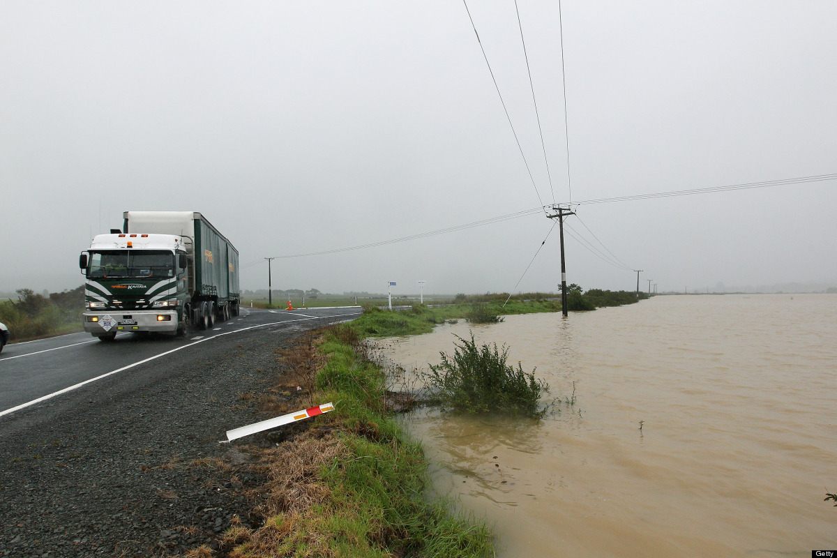 <em>From Getty:</em> NORTHLAND, NEW ZEALAND - MARCH 20:  Flood waters drop to road level in Hikurangi on March 20, 2012 in No