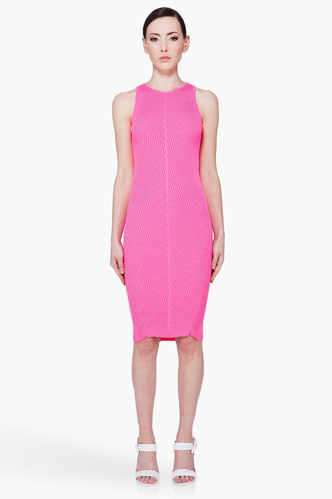 "<a href=""http://www.ssense.com/women/product/mcq_alexander_mcqueen/neon_pink_racer_dress/46667?utm_source=2178999&utm_medium="
