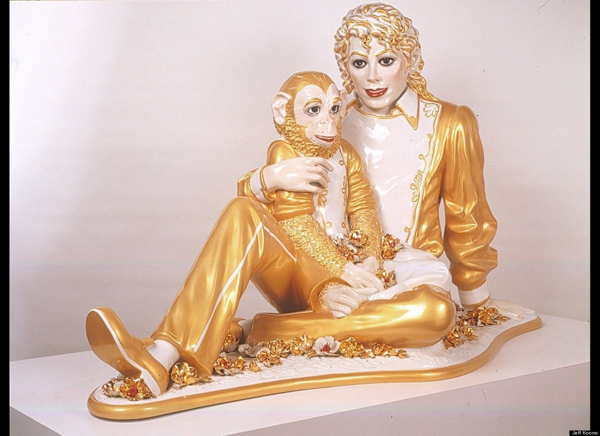 Jeff Koons, <em>Michael Jackson and Bubbles</em>, 1988; 42 in. x 70 1/2 in. x 32 1/2 in.; porcelain; Collection SFMOMA; purch