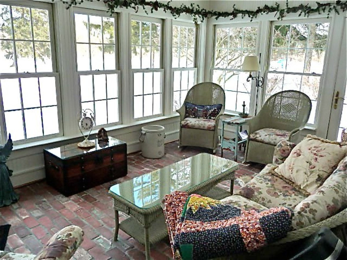 Modest sunroom decorating ideas Window Treatments With Its Offwhite Furniture And Garland Of Dried Flowers This Shabby Chic Sunroom Huffpost Gorgeous Home Library Would Turn Anyone Into Bookworm photos