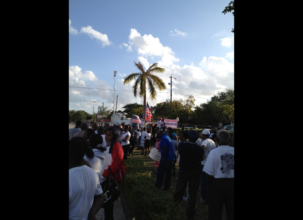 A crowd gathers in Little Haiti to demand justice for Trayvon Martin.