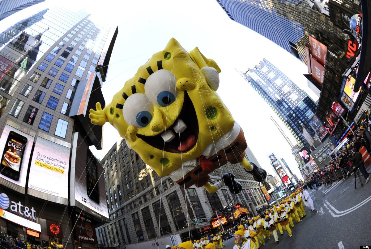 Balloon SpongeBob SquarePants as it makes its way down Seventh through Times Square  during the 85th Macy's Thanksgiving Day