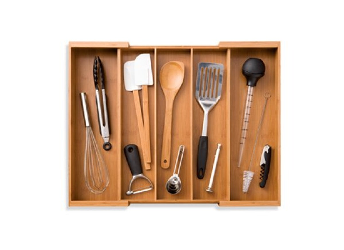 Is your kitchen utensil drawer so full it hardly opens? Make sense of it all with this expandable drawer organizer, which has