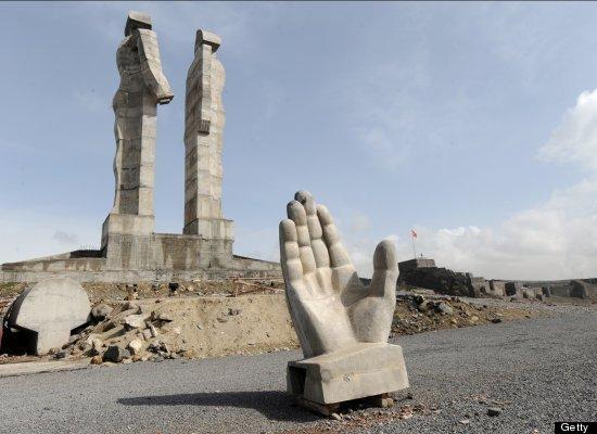 "Turkey began demolishing the 100-feet ""Peace And Brotherhood"" monument near its eastern border after the prime minister slamm"