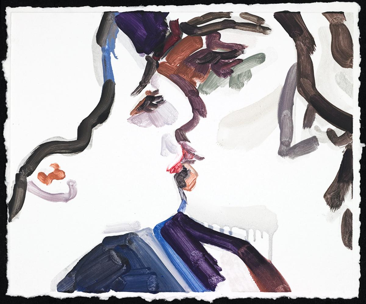 Elizabeth Peyton What Wondrous Thing; Lohengrin (Jonas Kaufman) 2 2012  on handmade paper 14 1/4 x 18 inches (36.2 x