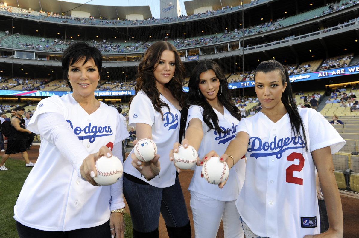 Kris Jenner, Khole Kardashian, Kim Kardashian and Kourtney Kardashian threw out ceremonial first pitches prior to the game be