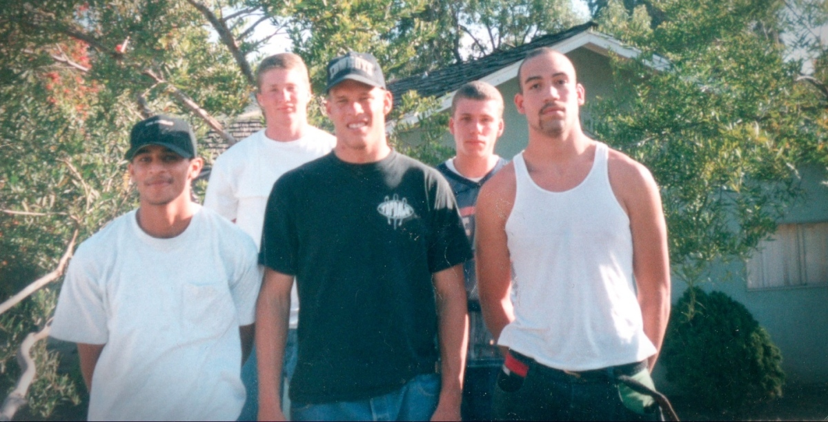 Ryan Blair (back row on the left) during his teenage years as a member of a Los Angeles gang