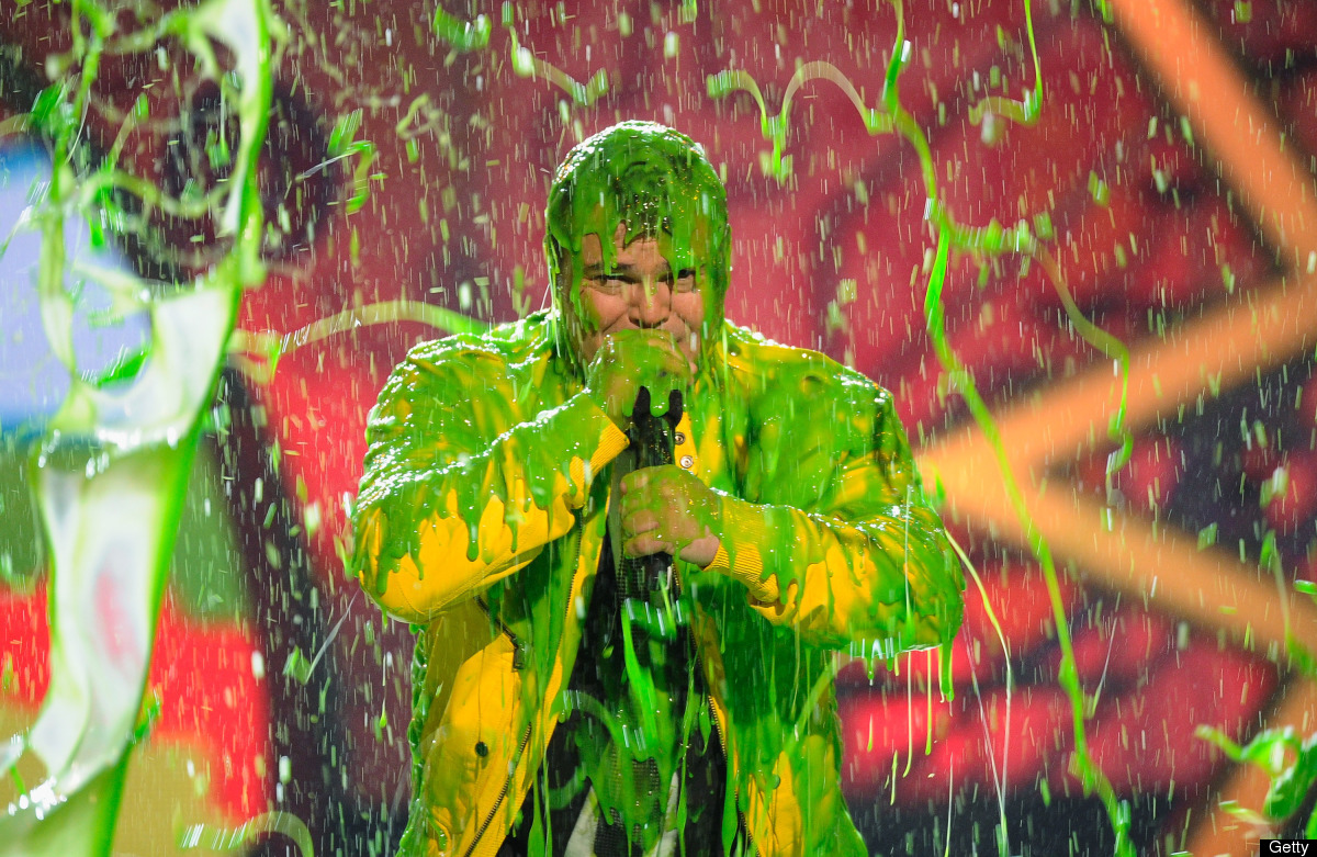 LOS ANGELES, CA - APRIL 02:  Host Jack Black gets slimed onstage during Nickelodeon's 24th Annual Kids' Choice Awards at Gale