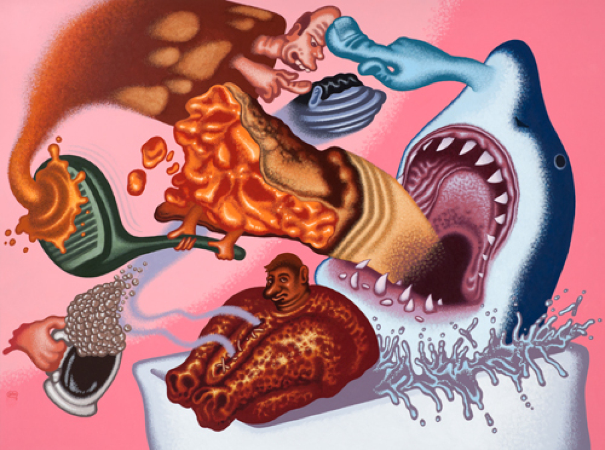 Peter Saul <em>Shark in My Bathtub</em>, 2011 Acrylic on canvas 72 x 96 inches Courtesy of the artist and Mary Boone