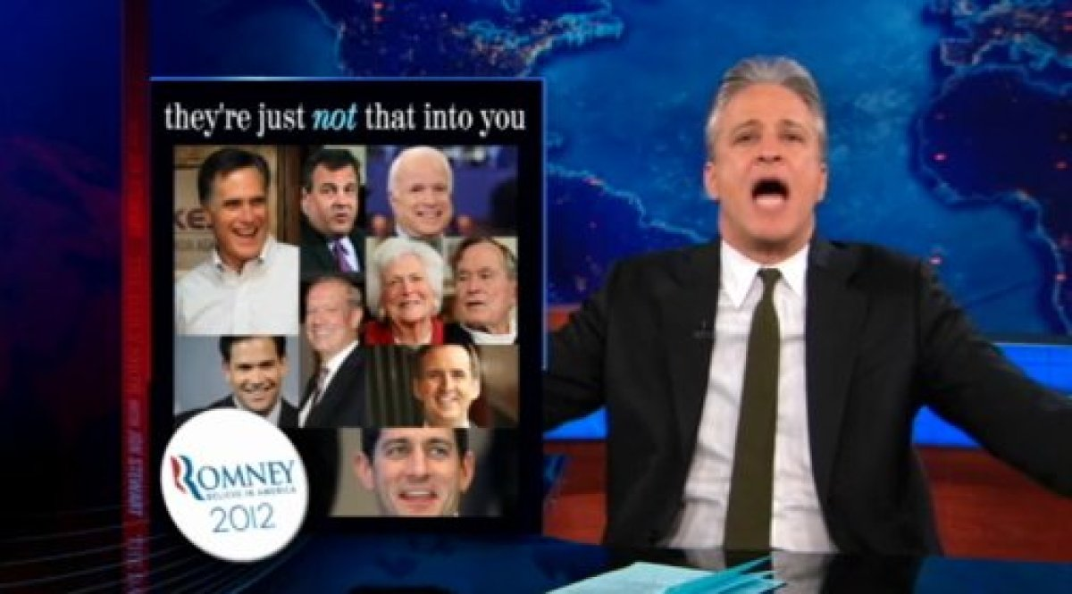 """Jon Stewart notices a lack of enthusiasm in the <a href=""""http://gtcha.me/H6UjqV"""" target=""""_blank"""">endorsements of Mitt Romney<"""