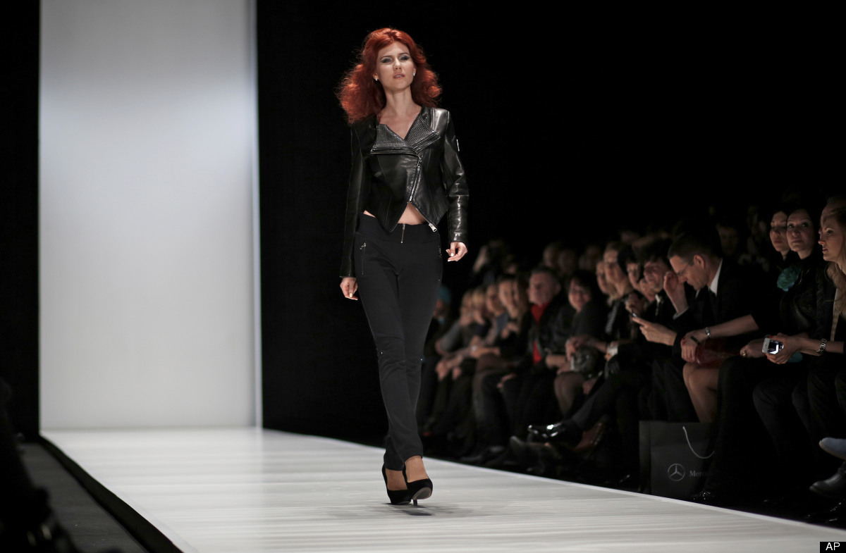 Russian Anna Chapman, who was deported from the U.S. on charges of espionage, displays a creations by I Love Fashion, France,