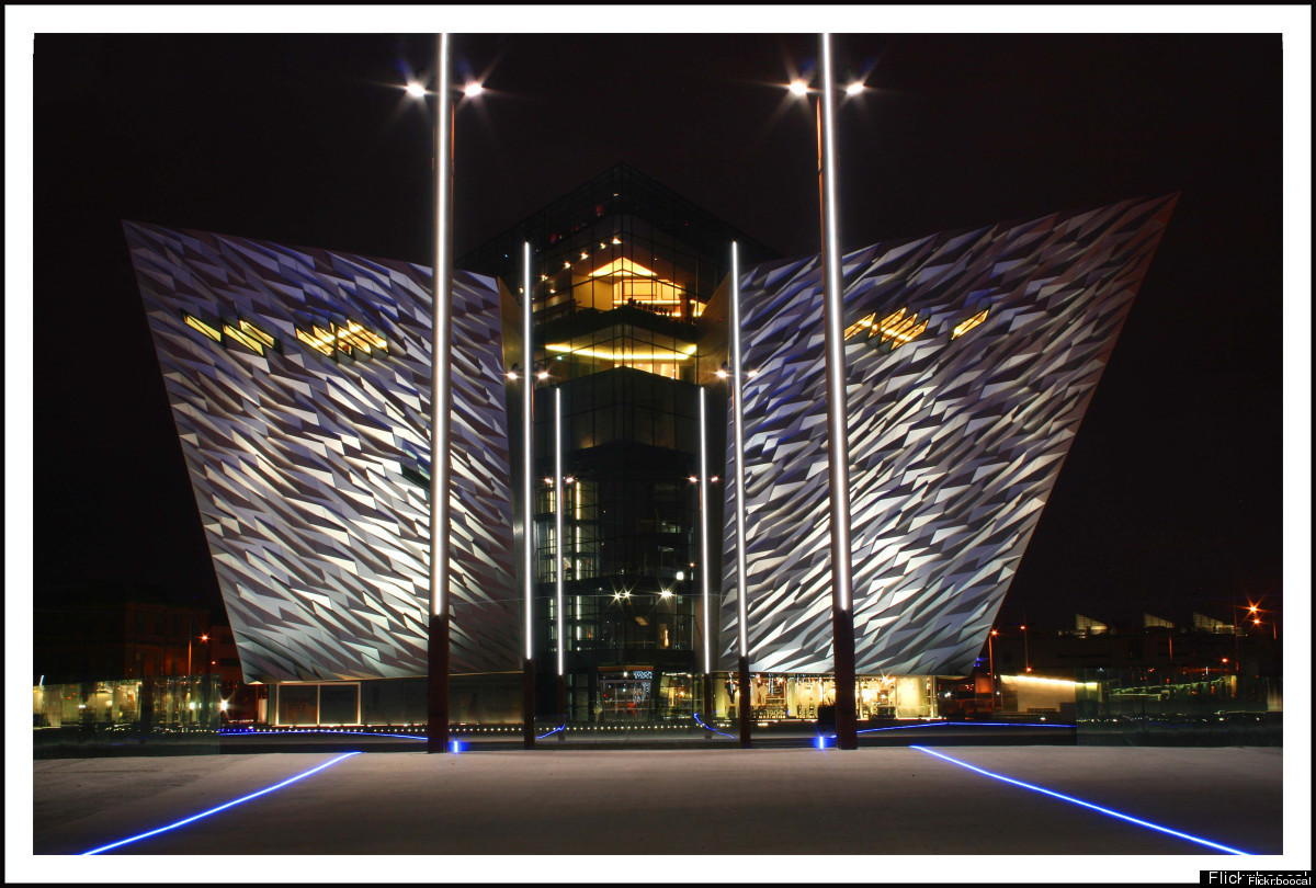 <em>In Belfast ... built on the site of the former shipyards.</em>  First up is Belfast, where RMS Titanic was built by Har