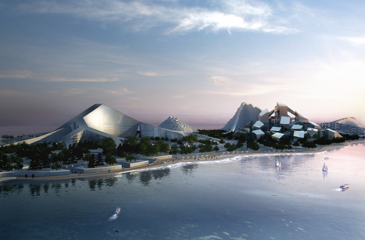 Commissioned by Avrosti Holding, the Zira Island Masterplan is a zero-energy resort situated within the Caspian Sea near Azer