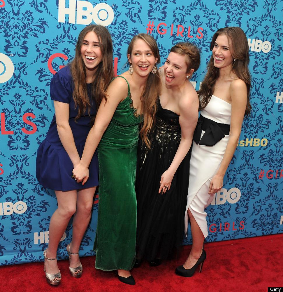 (L-R) Actress Zosia Mamet, actress Jemima Kirke, actress/creator/executive producer Lena Dunham, and actress Allison Williams