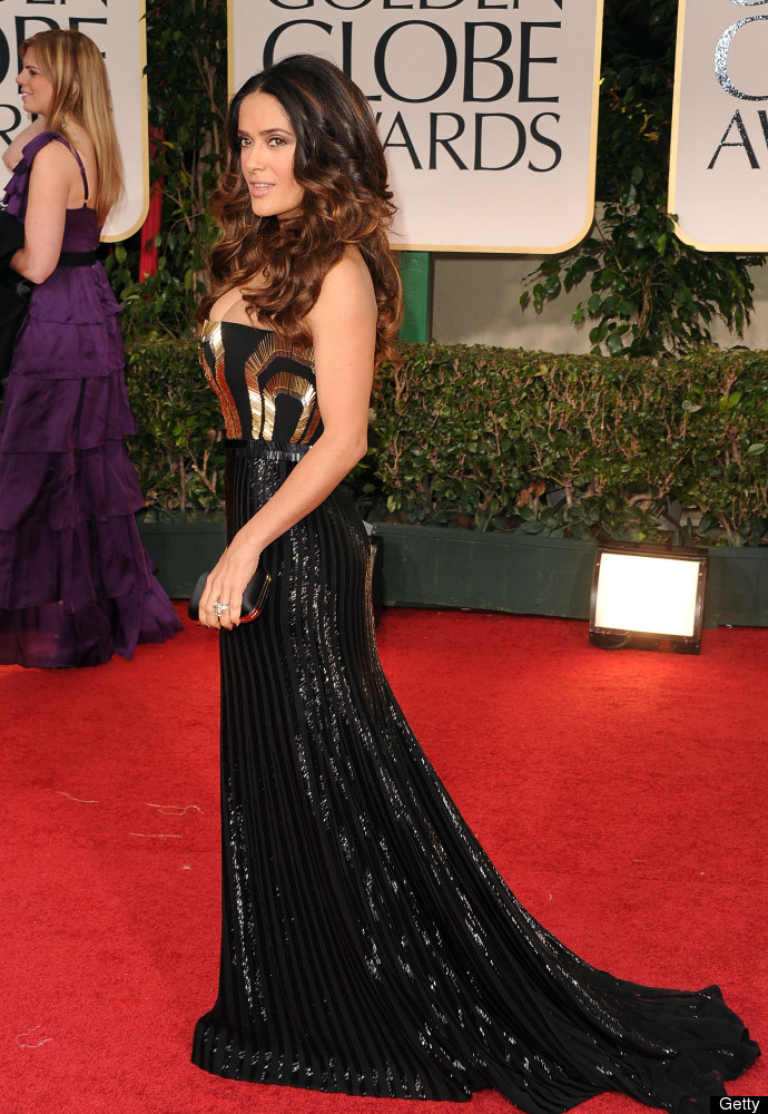 BEVERLY HILLS, CA - JANUARY 15:  Actress Salma Hayek arrives at the 69th Annual Golden Globe Awards held at the Beverly Hilto