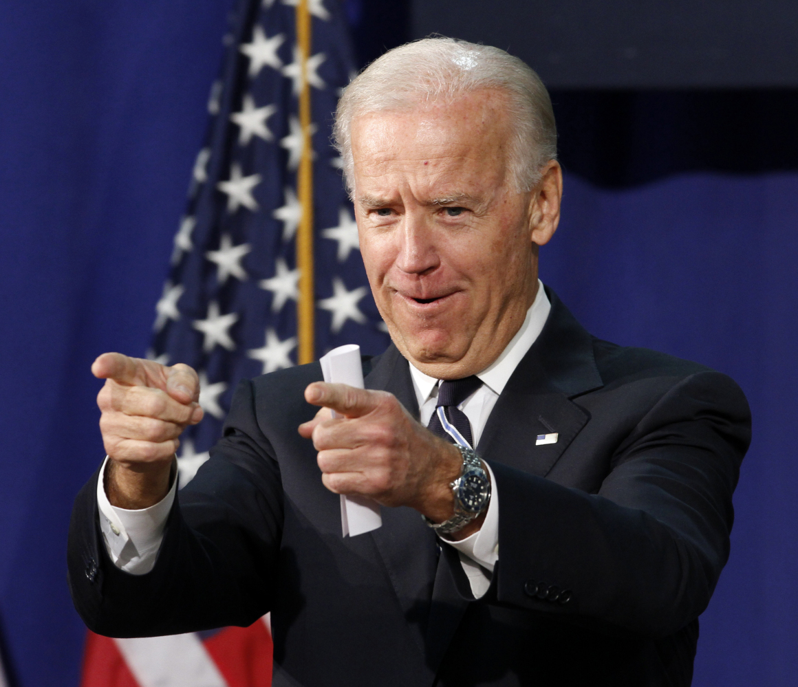 Vice President Joe Biden gestures as he talks about college spending, Tuesday, April 3, 2012, at Maury High School in Norfolk