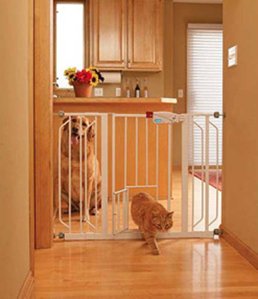 """Gates will definitely keep your pets from getting into trouble --without confining them to a small crate.   <a href=""""http:/"""