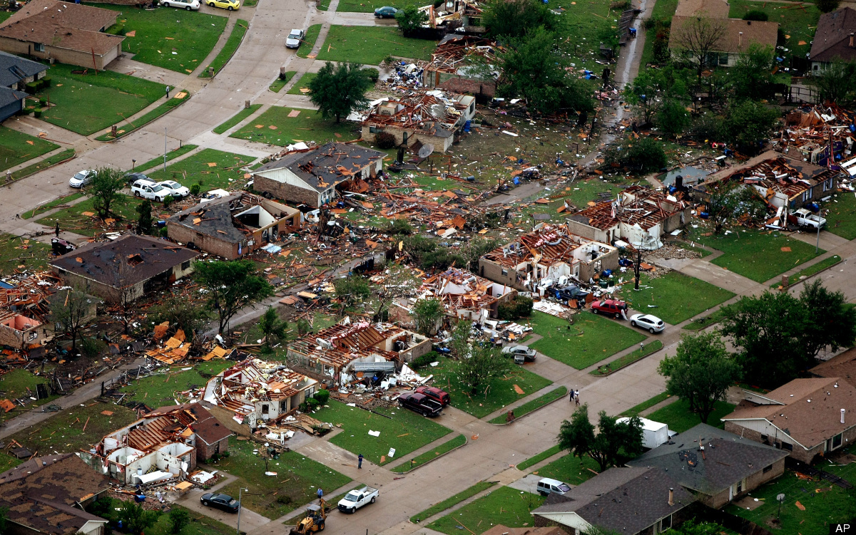 <em>From AP:</em> Homes in Lancaster, Texas lay destroyed by a tornado on Tuesday, April 3, 2012. Tornadoes tore through the