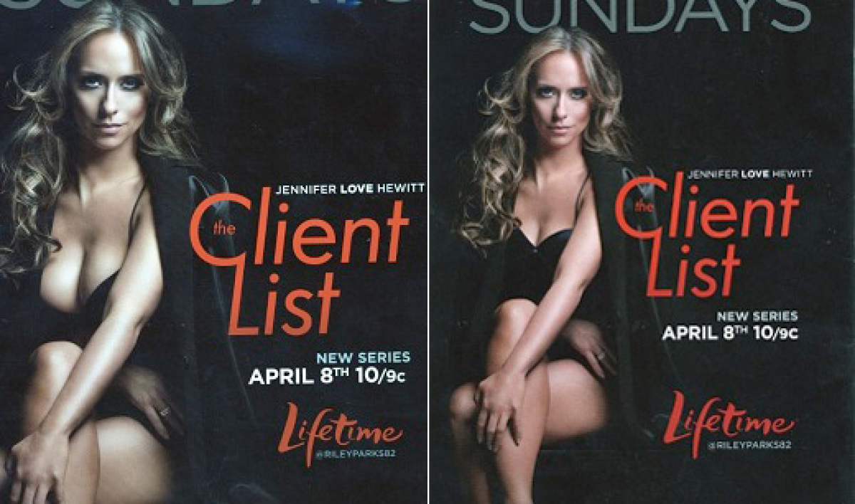 """Jennifer Love Hewitt's ample bust virtually vanished via photoshop in one version of an advertisement for """"The Client List:"""