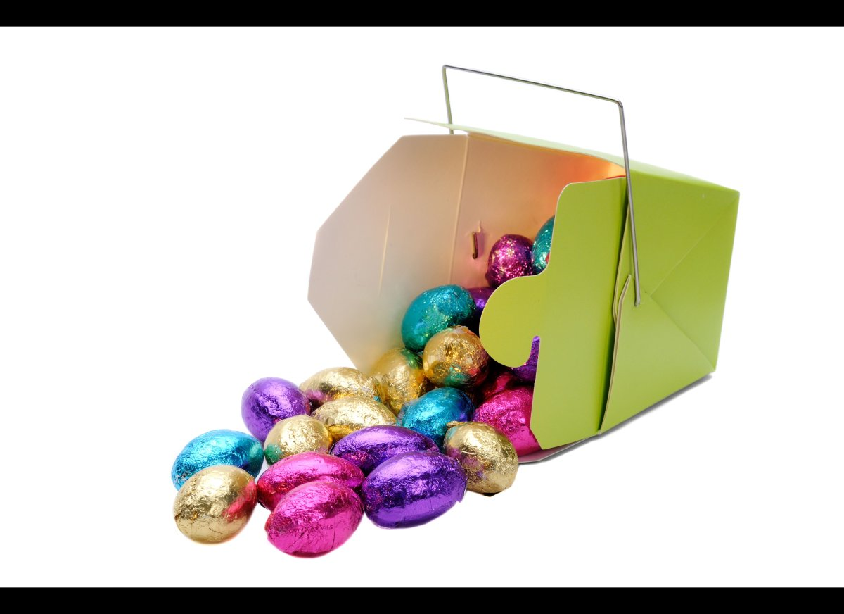 Wrap up candy in treat bags and donate it to children who probably didn't get any Easter candy.
