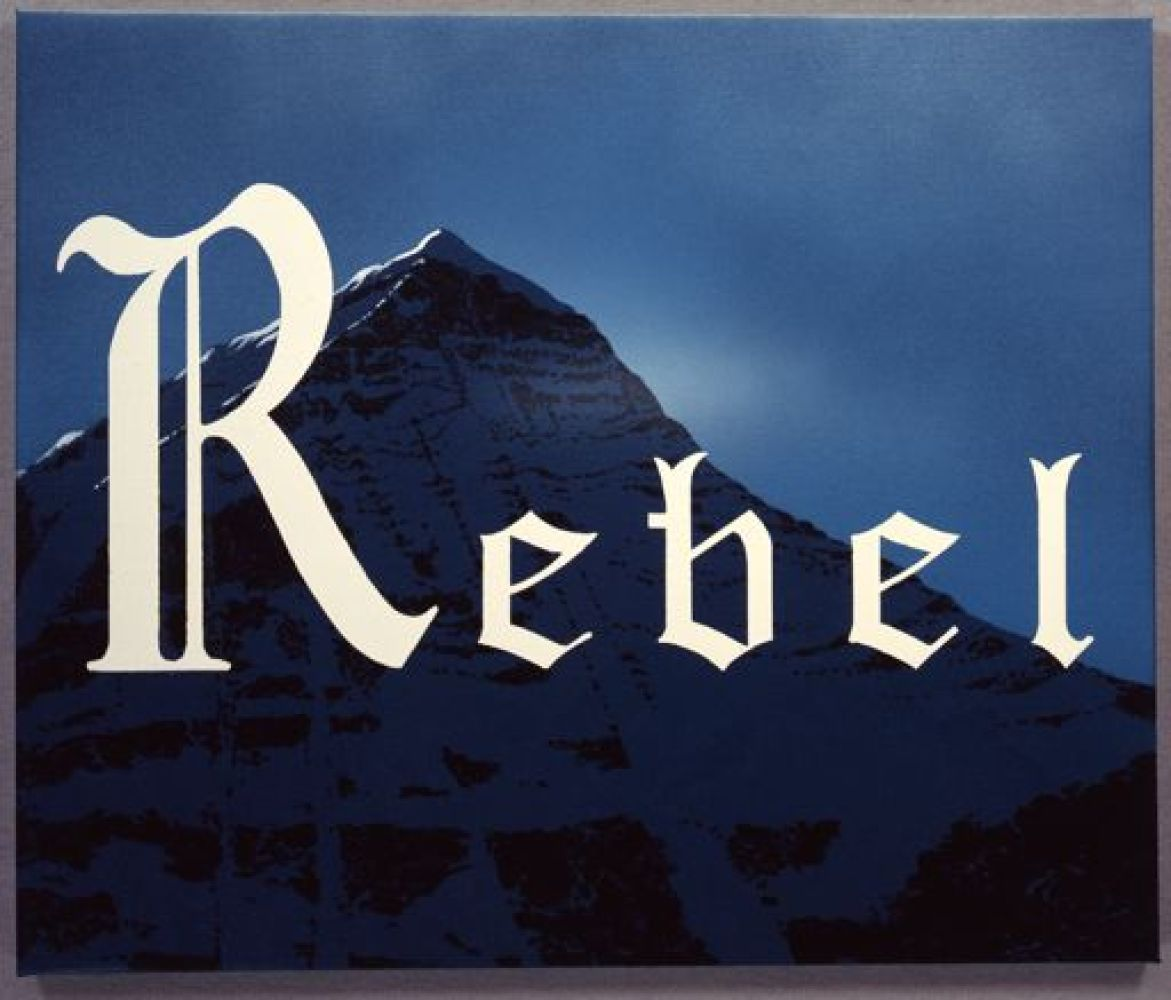 Ed Ruscha, Rebel, 2011, acrylic on canvas, 20 in. x 24 in., courtesy of the artist