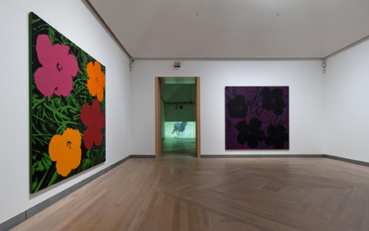 Sturtevant, Installation view Sturtevant: Image over Image, Moderna Museet 2012. Foreground: Sturtevant, Warhol Flowers, 1990
