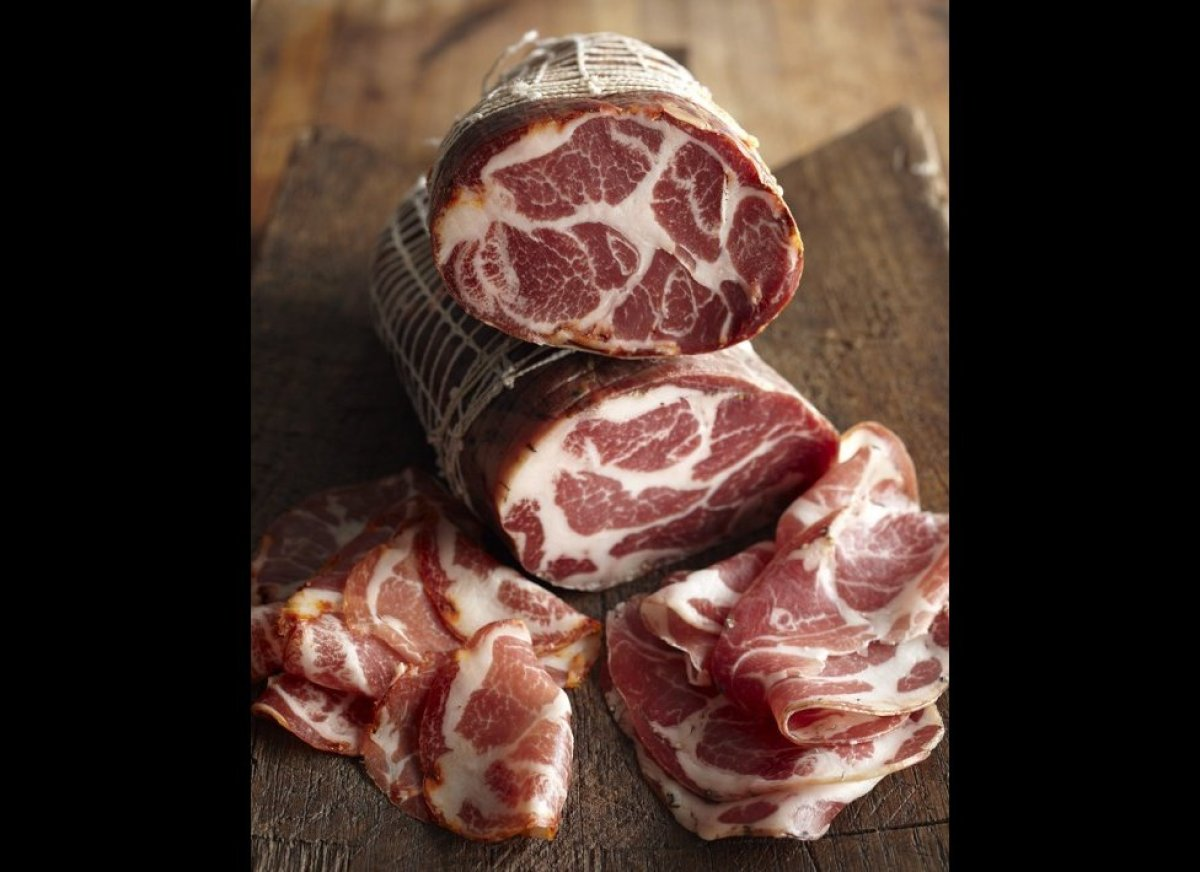 Also known as capocollo or capicolla. Coppa is a traditional, rustic Italian cured meat. It tastes similar to prosciutto, and