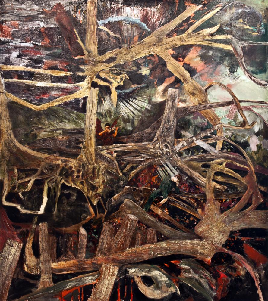 Tartini's Dream (The Devil's Trill), 2012 acrylic, airbrush, and block print on linen 108 x 96 inches 274.3 x 243.8 cm Courte