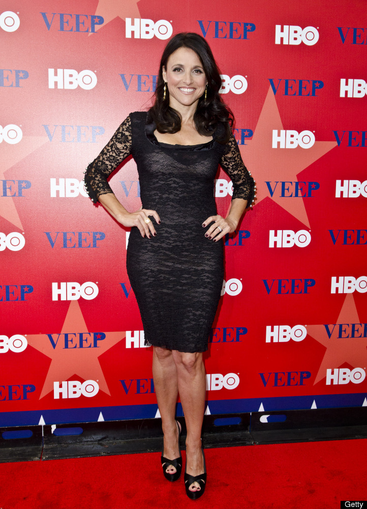"Julia Louis-Dreyfus poses on the red carpet for the ""Veep"" screening at the U.S. Institute of Peace on April 11, 2012, in Was"