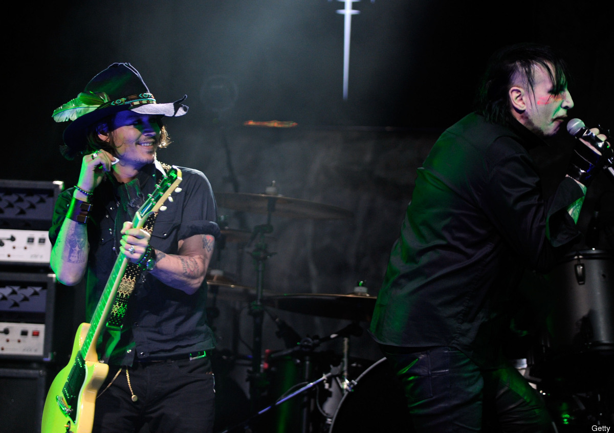 LOS ANGELES, CA - APRIL 11:  Actor Johnny Depp performs on stage with Marilyn Manson during the 2012 Revolver Golden Gods Awa