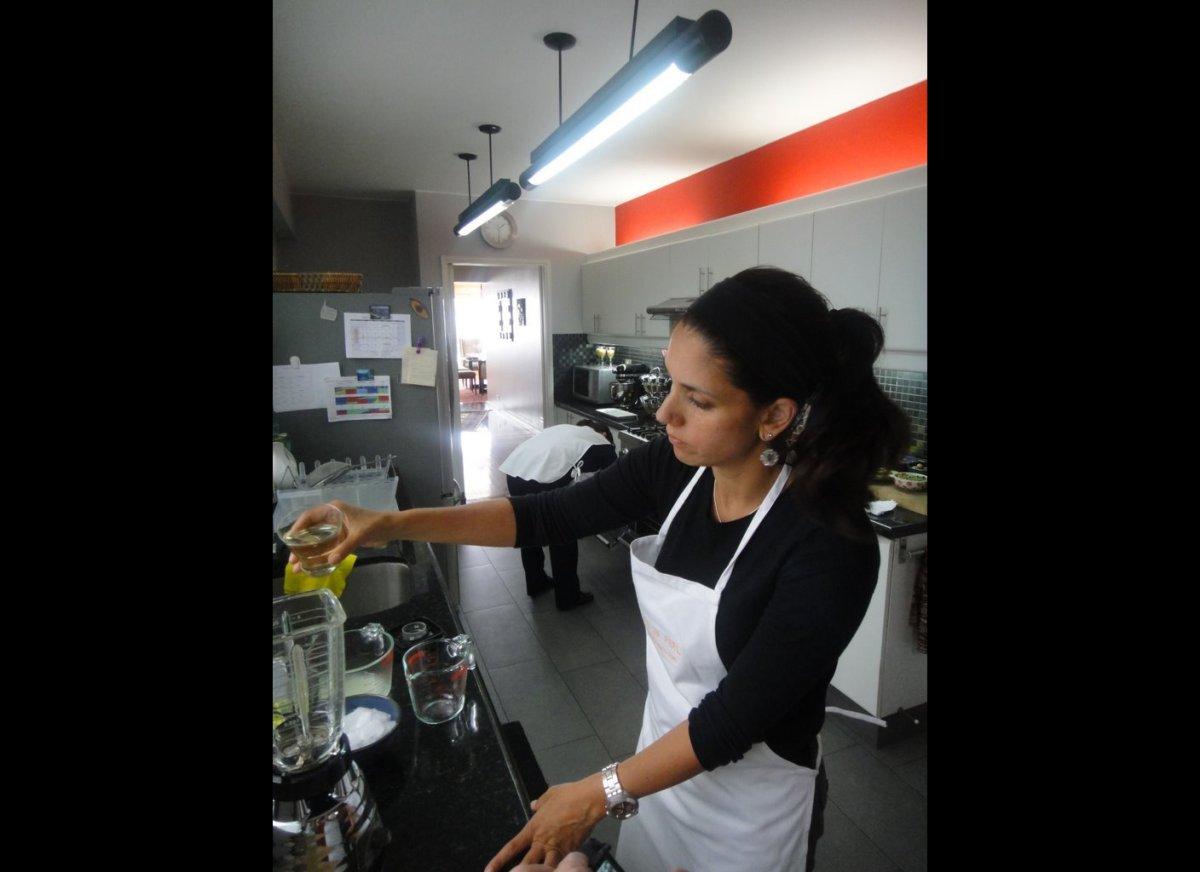Penelope Alzamora in her kitchen