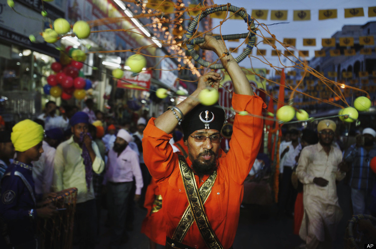 Indian Sikh devotees performs Sikh martial art during a religious procession Khalsa Saajna Divas or Baisakhi festival in Hyde