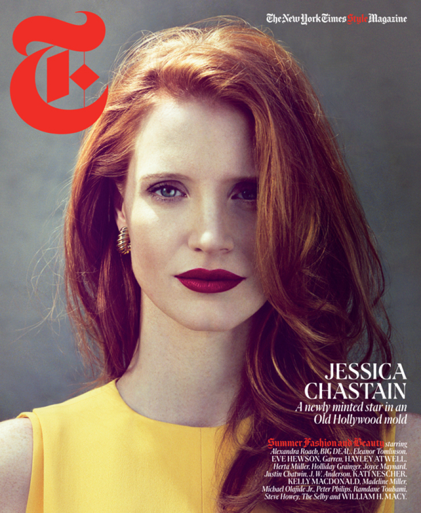 """The redheaded bombshell graces the cover of <em><a href=""""http://www.nytimes.com/interactive/2012/04/15/t-magazine/15well-jess"""