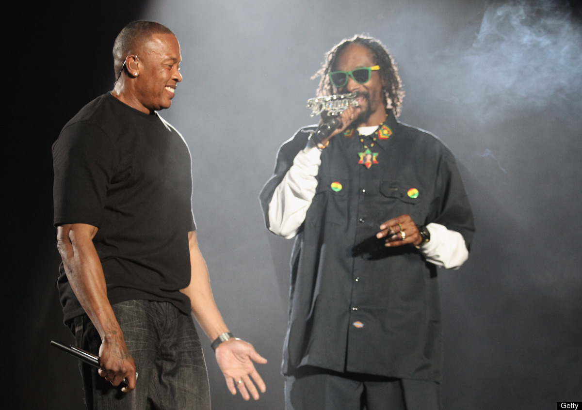 INDIO, CA - APRIL 15:  Rappers Dr. Dre (L) and Snoop Dogg perform onstage during day 3 of the 2012 Coachella Valley Music & A