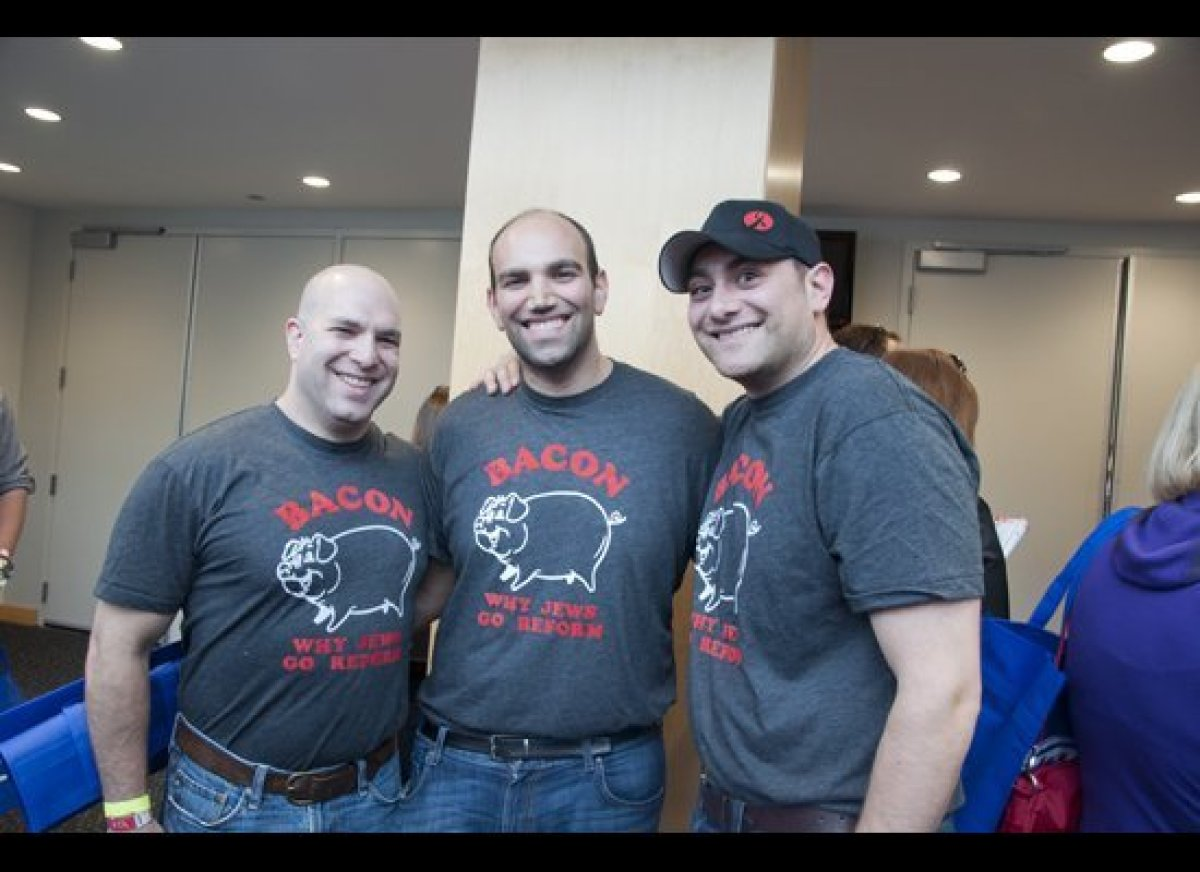 Outside, we met Rob, Andrew, and Brent Rosen, who are definitely <em>not</em> kosher. They've been to every baconfest -- and