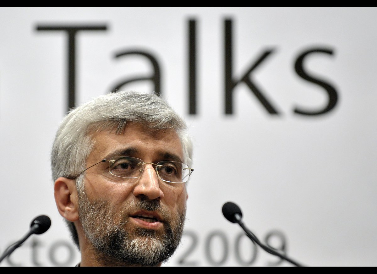 <em>Iran's top nuclear negotiator Saeed Jalili answers to a question during a press conference following talks between Iran a