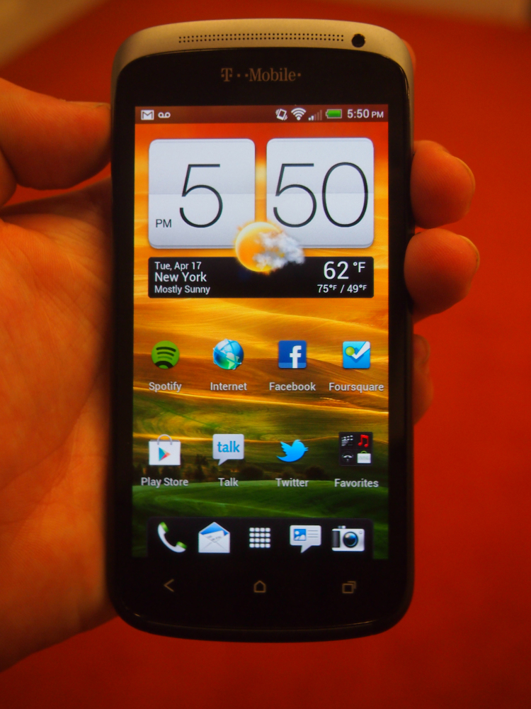 Front view of the HTC One S. The 4.3-inch screen features a terrific Super AMOLED display, though early reviews say the glass