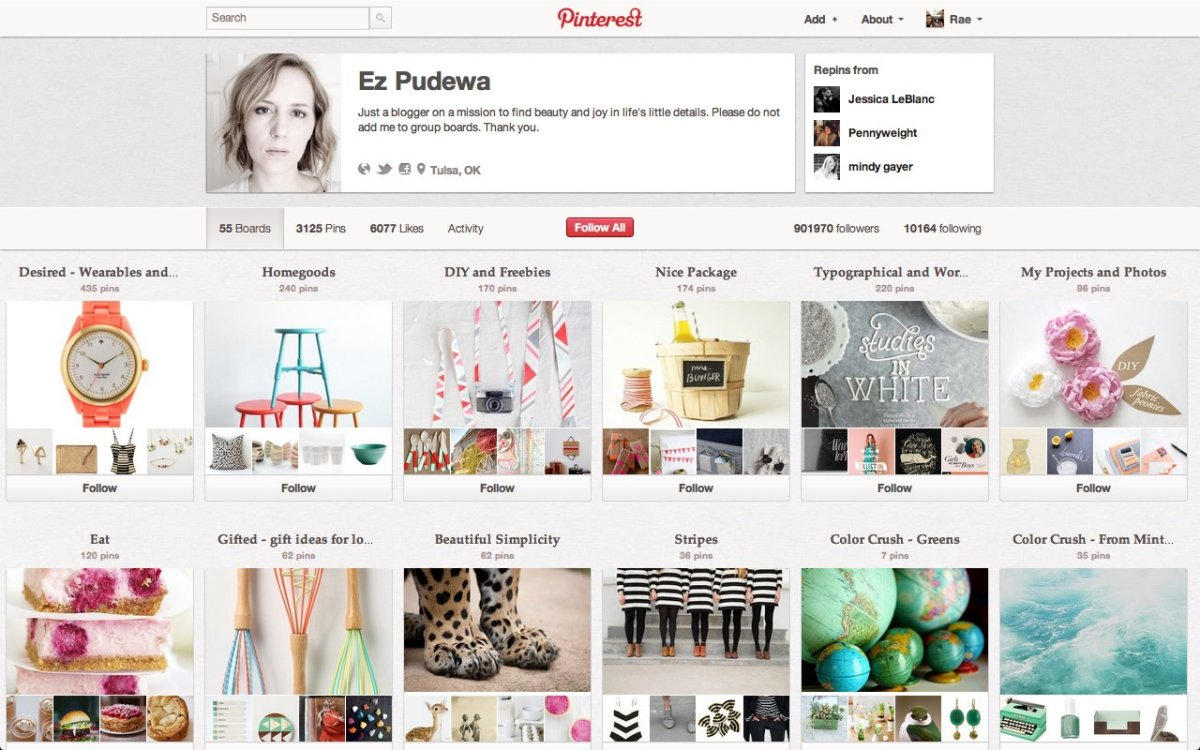 "Around 907,000 Pinterest users follow <a href=""http://pinterest.com/ezpudewa/"" target=""_hplink"">Ez Pudewa's page</a> of 54 bo"