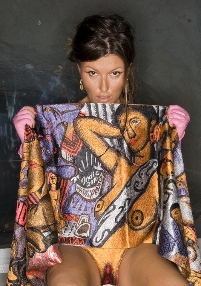 Masha Shubina, ARTeFucks series, embroidery, wooden boxes, 780 x 580, 2010, Courtesy of the artist