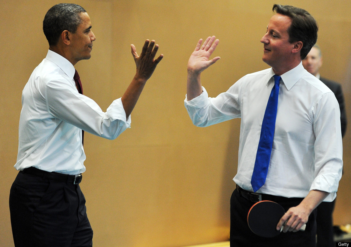 President Obama and British Prime Minister David Cameron put on a high five clinic. Step one: open your hand, lift it up to e