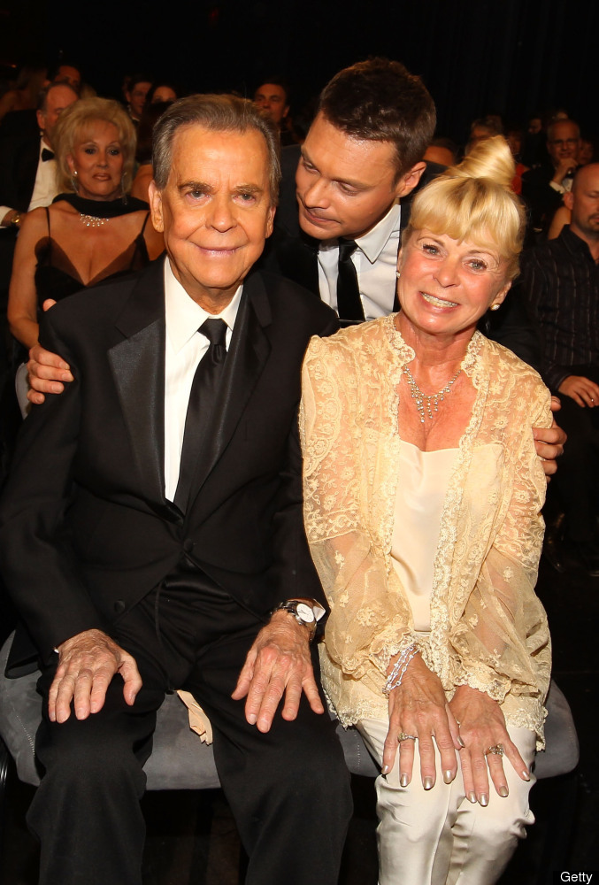 LAS VEGAS - JUNE 27: Actor Dick Clark, TV personality Ryan Seacrest and Kari Clark attend the 37th Annual Daytime Entertainme