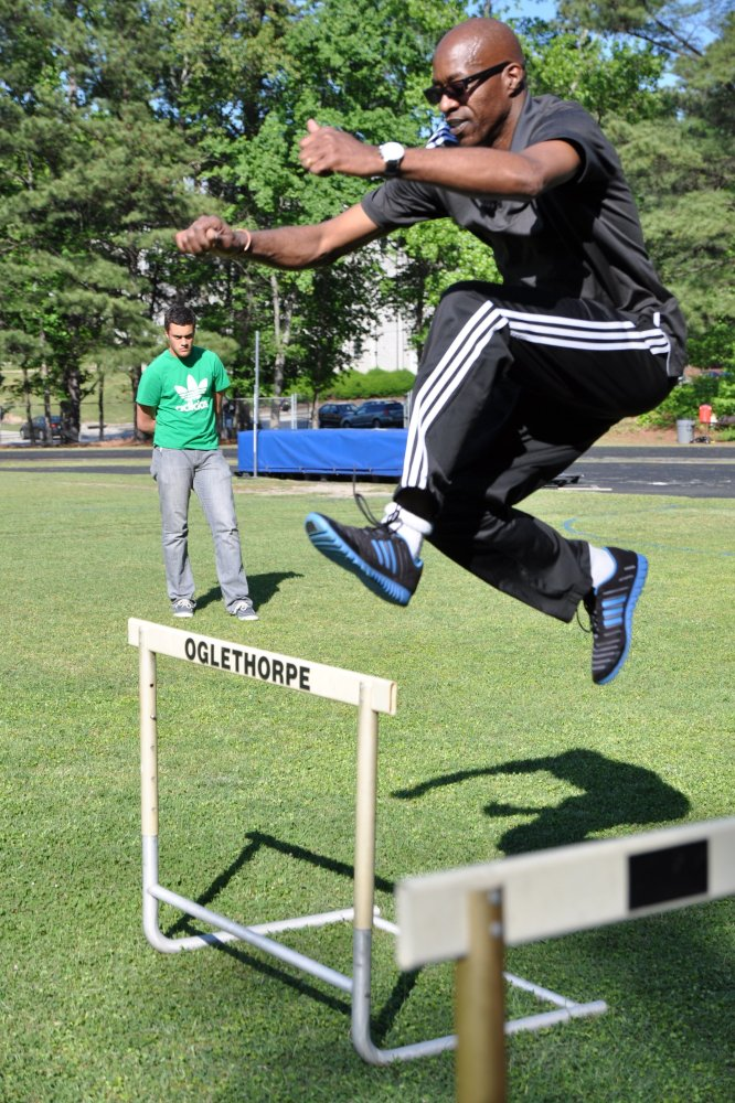 """Olympian Edwin Moses demonstrates the hurdle for <a href=""""http://www.skysports.com/"""" target=""""_hplink"""">Sky Sports</a> at <a hr"""