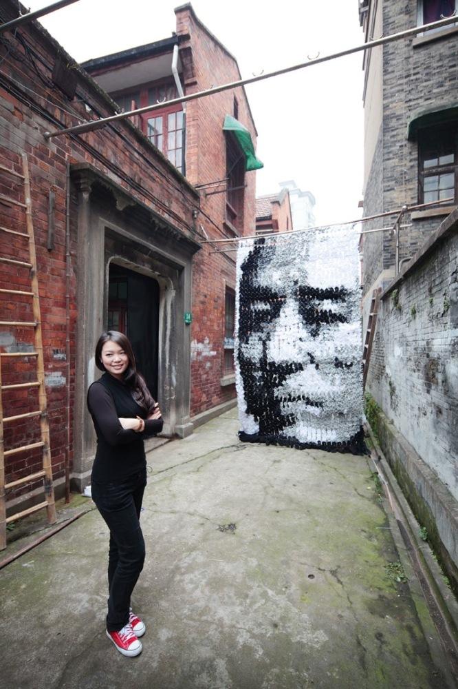 Title: Zhang Yimou Alleyway Portrait Medium: Socks, Bamboo sticks, pins Year: April 2012