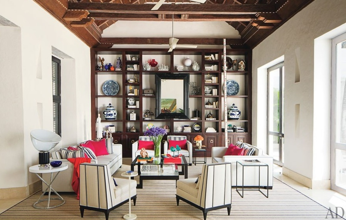 For his light-filled living room, Richard Mishaan outfitted it with some of his own furniture design and an array of Colombia