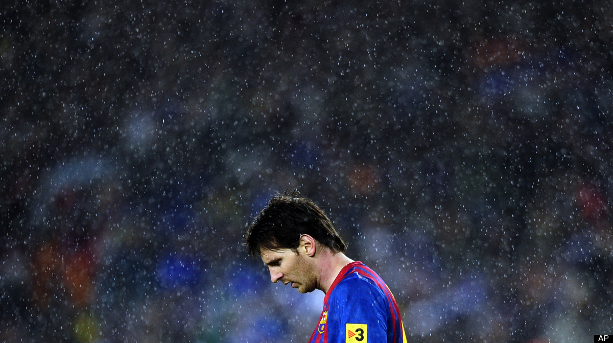 FC Barcelona's Lionel Messi, from Argentina, reacts against Real Madrid during a Spanish La Liga soccer match a at the Camp N
