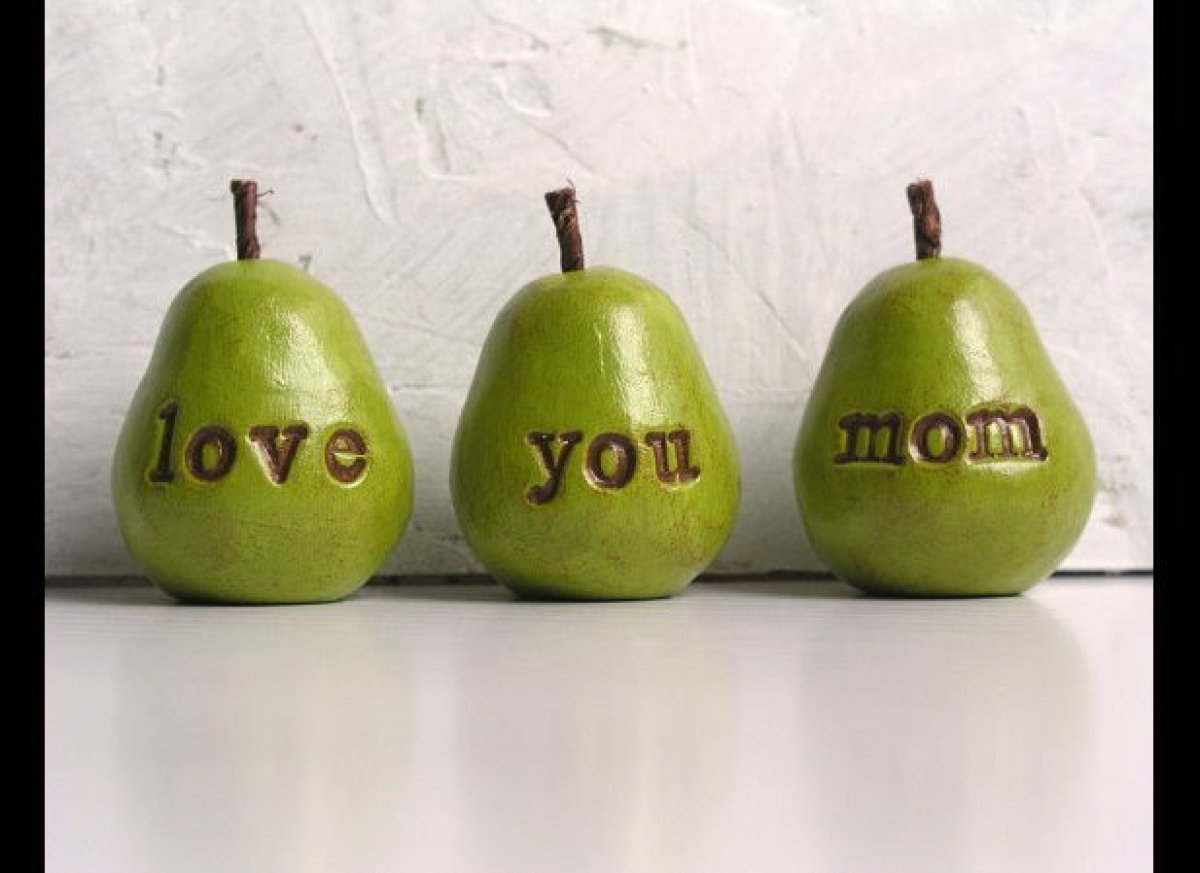 """Three handmade clay pears that tell mom you love her by <a href=""""http://www.etsy.com/listing/93716369/mothers-day-love-you-mo"""