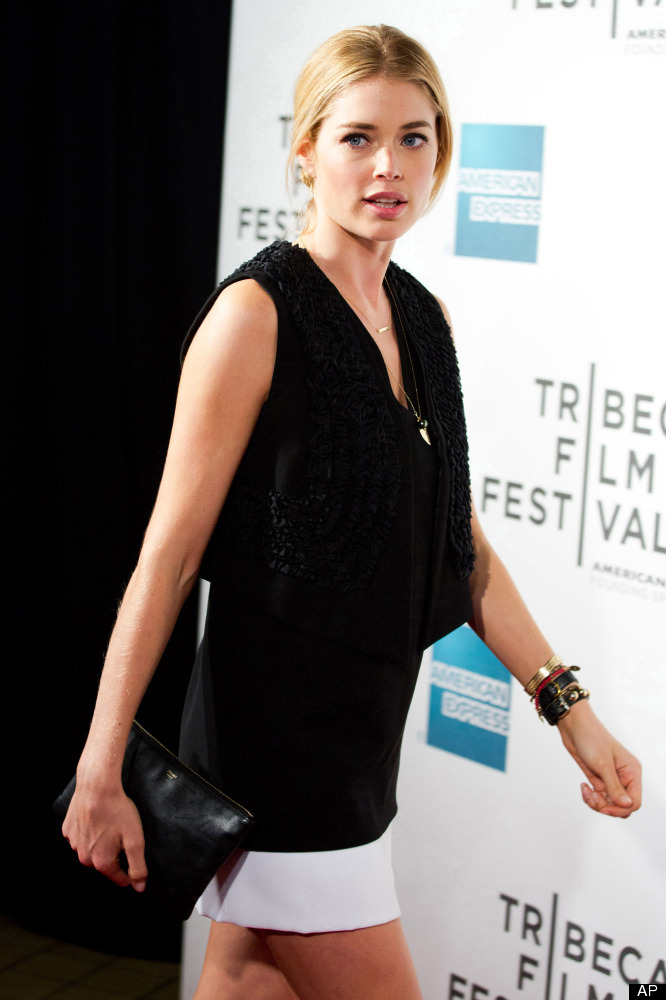 "Doutzen Kroes attends the premiere of ""Mansome"" during the Tribeca Film Festival in New York, Saturday, April 21, 2012. (AP P"