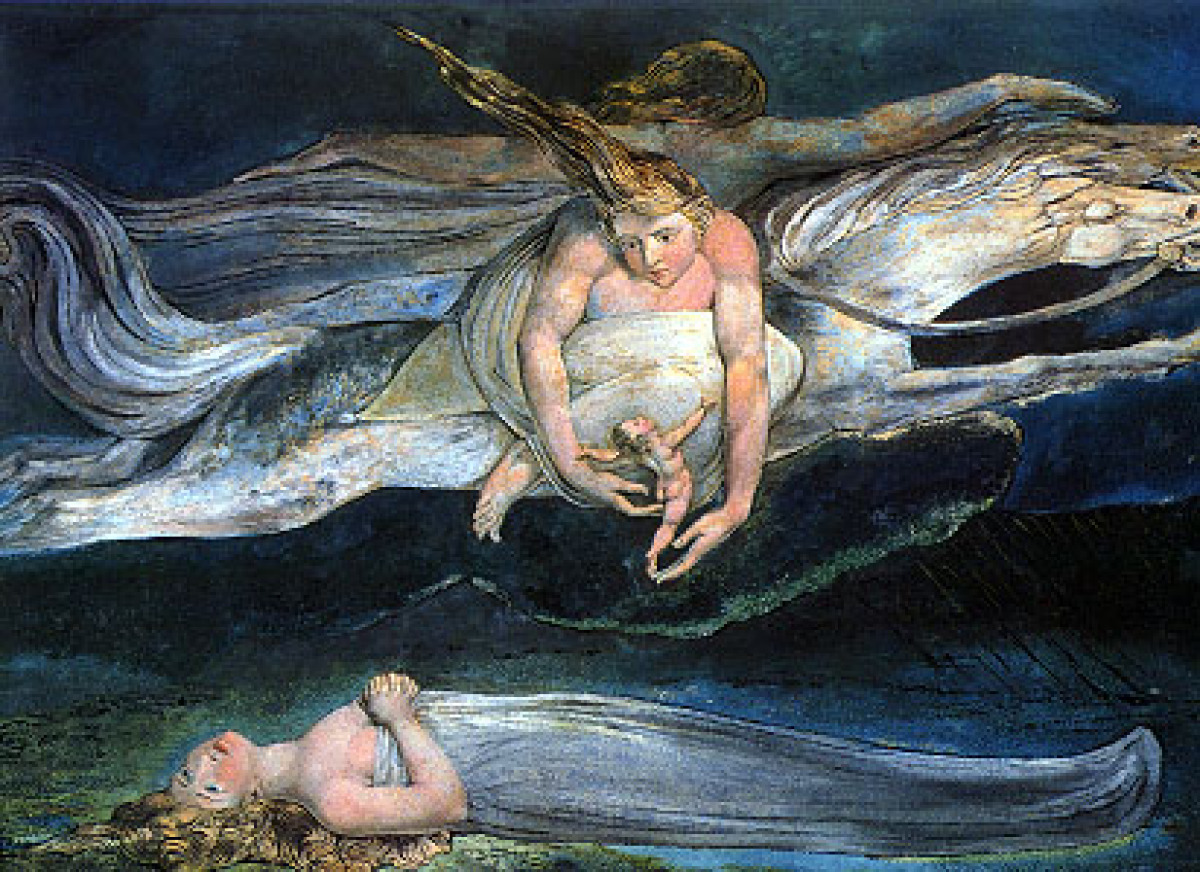 """William Blake, """"Pity."""" (1795)  From """"Macbeth""""      And pity, like a naked new-born babe,     Striding the blast, or heav"""
