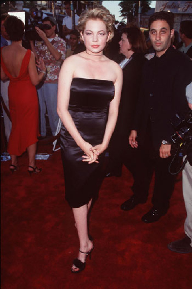 Halloween H2O Premiere in L.A., 1998 The actress donned a strapless dress, marabou-feather embellished sandals, skinny black